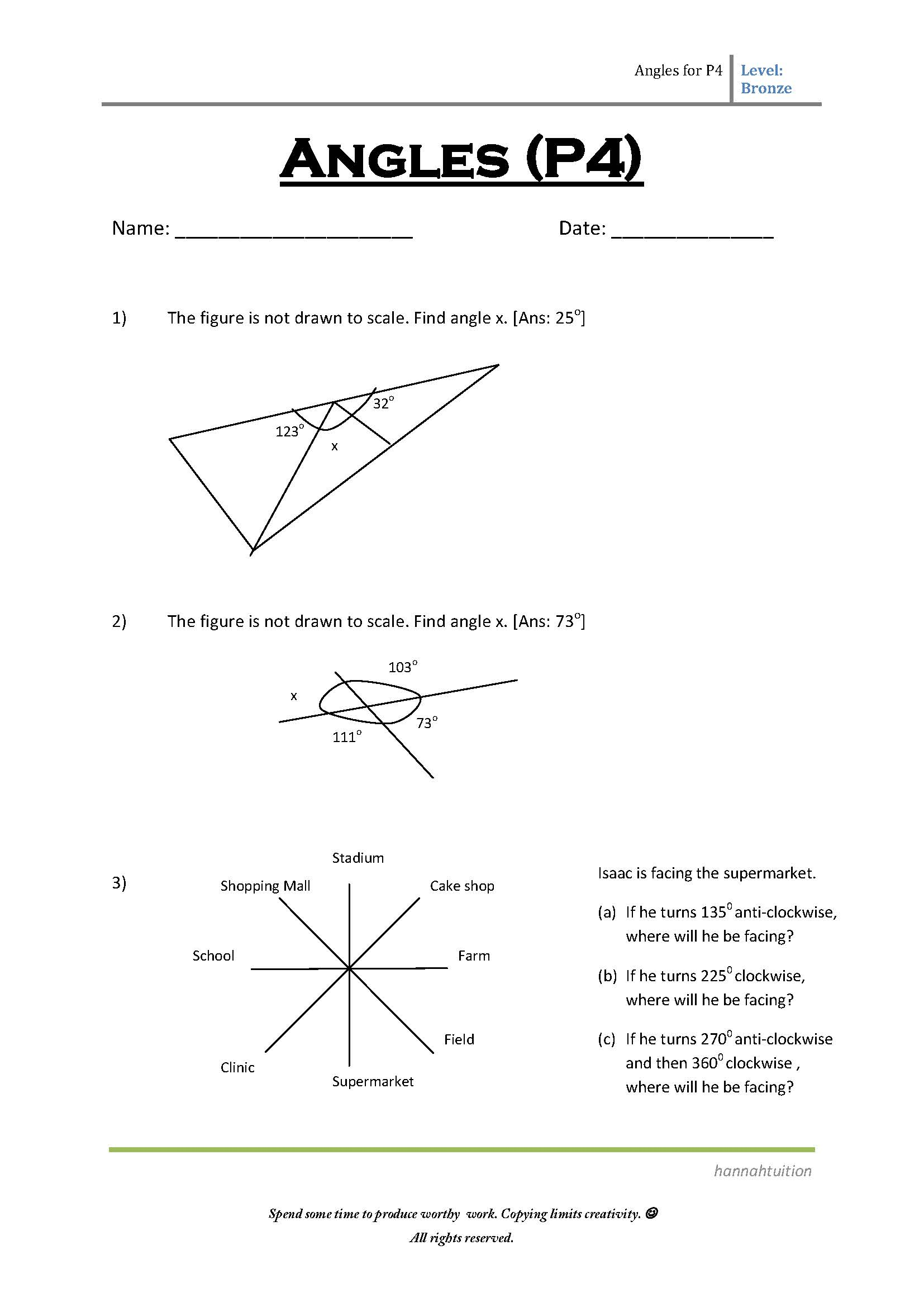 P4 Mathematics Daily Exercises on Angles – Primary 4 Maths Worksheets